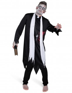 Untoter Zombie-Priester Halloween Kostüm für Herren schwarz-weiss
