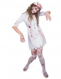 Gruselige Zombie-Krankenschwester Halloween Kostüm für Damen weiss-rot