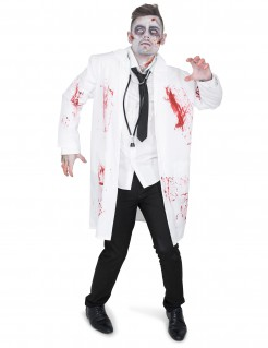 Zombie-Arzt Halloween Kostüm für Herren mit Kittel weiss-rot