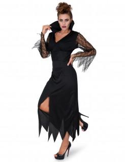 Gothic-Hexe Halloween Damenkostüm mit Spitze schwarz