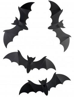 Fledermaus Halloween-Wanddeko 12 Stück schwarz 15cm