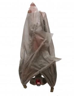 Hängende Fledermaus Halloween-Dekofigur grau 30cm