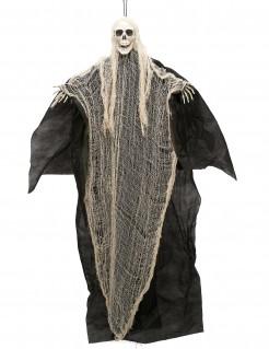 Gruseliger Skelettgeist Halloween-Hängedeko Sensenmann schwarz-beige 110 cm