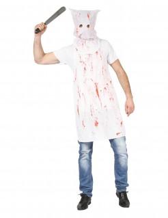 Psychopathischer Serienkiller mit Maske Halloween Kostüm für Herren weiss-rot