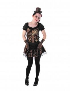 Sexy Steampunk-Lady Halloween Kostüm für Damen braun-schwarz