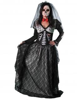 Dia de los Muertos Skelettbraut mit Schleier Halloween Kostüm für Damen schwarz-weiss