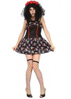 Tag der Toten Damenkostüm Totenkopf-Kleid schwarz-weiss-rot