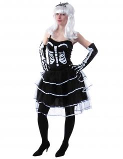 Düstere Skelett-Prinzessin Halloween Kostüm für Damen schwarz-weiss