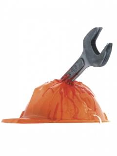 Blutiger Bauarbeiterhelm mit Axt Halloween-Accessoire orange-braun