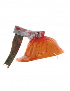 Blutiger Bauhelm mit Axt Halloween orange-rot
