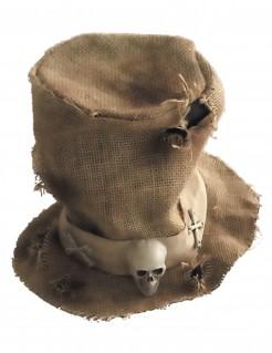 Jute-Hut mit Skelett Kostümaccessoire beige