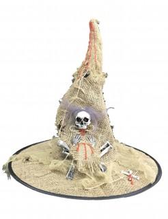 Hexenhut Kostümaccessoire für Halloween beige-weiss-schwarz