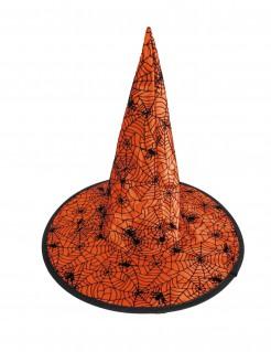 Halloween-Hexenhut mit Spinnennetzen für Kinder Kostüm-Accessoire orange-schwarz