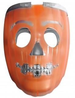 Leuchtende Halloween-Kuerbismaske orange-silber