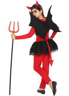Kleine Dämonin mit Flügeln Halloween Kostüm für Kinder rot-schwarz