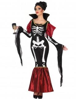 Edles Halloweenkleid Skelett-Damenkostüm schwarz-rot-weiss