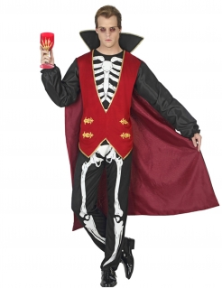 Skelett-Vampir Halloween Kostüm für Männer bunt