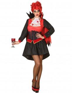Blutige Vampirin Halloween Kostüm für Damen schwarz-rot-weiss