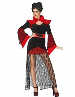 Exotische Vampirin Halloween Kostüm für Damen mit Spitze schwarz-rot