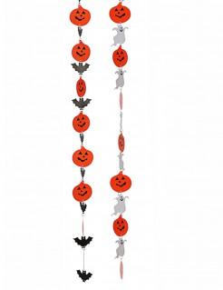 Hängedekoration Girlande Kürbis 2 Stück orange-schwarz-weiß 130 cm