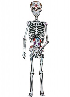 Tag der Toten Skelett Halloween-Hängedeko bunt 152cm
