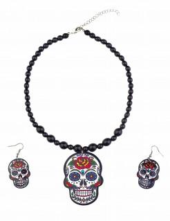 Dia de los Muertos Schmuck-Set mit Ohrringen und Halskette 3-teilig schwarz-silber-bunt