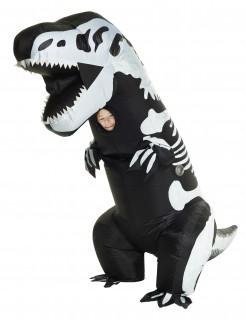 Aufblasbares T-Rex Skelett-Kostüm Morphsuits™ für Kinder schwarz-weiß