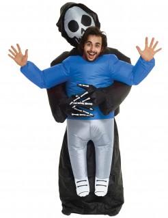 Aufblasbares Sensenmannkostüm Morphsuits™-Lizenzprodukt schwarz-blau