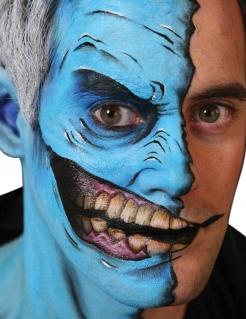 Halbes Gesichtstattoo mit fiesem Lachen 2-teilig weiß