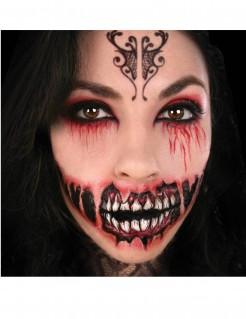 Gruseliges Zombiemund -Tattoo schwarz-rot-weiß