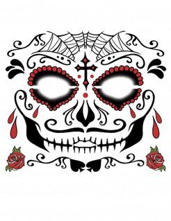 Herren Gesichtstattoo Tag der Toten schwarz-rot