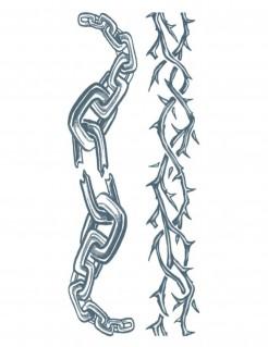 Tattooärmel Ketten und Stacheldraht Halloween-Accessoire silber