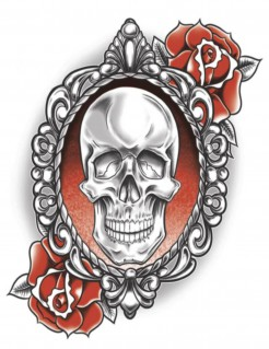 Halloween-Tattoo Schädel und Rosen weiss-schwarz-rot 7x10cm