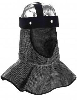 Ritter-Helm Ketten-Haube silbern-schwarz