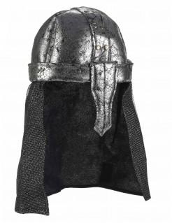 Ritterhelm aus Stoff grau-schwarz
