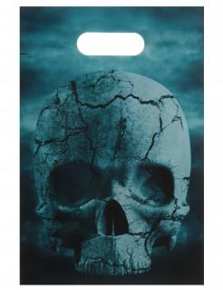 Halloween-Geschenktüten mit Totenkopf Party-Accessoire 10 Stück grau-blau-schwarz 16 x 23cm