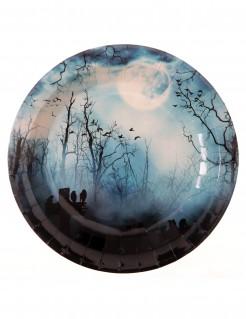 Pappteller mit Nacht-Motiv Halloween-Tischdeko 10 Stück 22cm