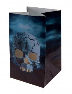 Feuerfeste Totenschädel-Windlichter Laternen Halloween-Partydeko 6 Stück bunt 6 x 10cm
