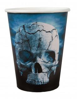 Partybecher mit Totenkopf-Motiv Halloween-Tischdeko 10 Stück blau-weiss-schwarz 9cm