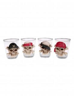 Shotglas mit Piraten-Totenschädel Halloween-Tischdeko transparent-beige 5 x 6cm