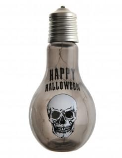 Totenschädel-Glühbirne mit Licht Halloween-Partydeko transparent-schwarz-weiss 11 x 21cm