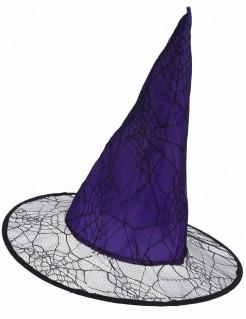 Hexenhut für Damen mit Spinnweben Halloweenhut lila-schwarz