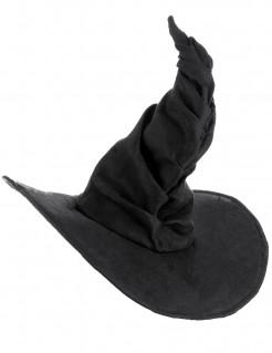 Gebogener Hexenhut für Damen Halloweenhut schwarz