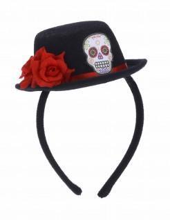 Dia des los Muertos Halloween-Haarreif mit Mini-Hut schwarz-rot