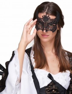 Sexy Spitzenmaske Venezianische Maske schwarz