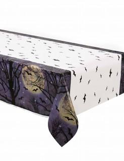 Gruselige Tischdecke mit Fledermäusen und Vollmond Halloween-Partydeko schwarz-blau-beige 137 x 213cm