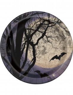 Halloween-Partyteller mit Fledermäusen und Vollmond Tischdeko 8 Stück schwarz-blau-weiss 18cm
