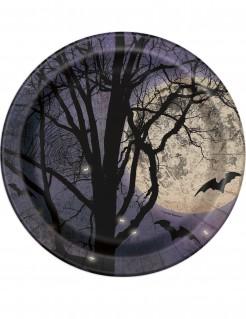 Pappteller mit Vollmond und Fledermäusen Halloween-Tischdeko 8 Stück 23cm