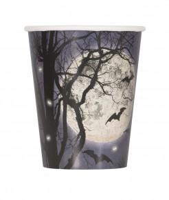 Gruselige Pappbecher mit Vollmond und Fledermäusen Halloween-Tischdeko 8 Stück schwarz-weiss-blau 266ml
