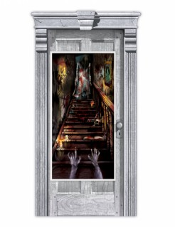 Gruselige Treppe Halloween-Türdeko bunt 165 x 85cm